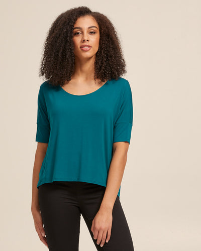 Bamboo Breastfeeding Boxy Tee - Evergreen - Peachymama - 1