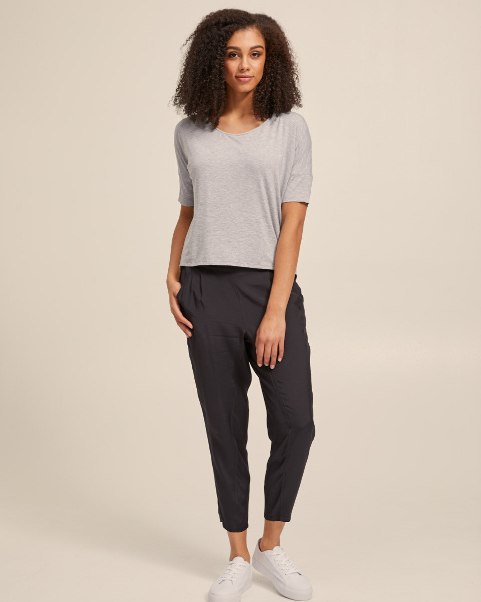 Bamboo Breastfeeding Boxy Tee - Grey Marle - Peachymama - 5