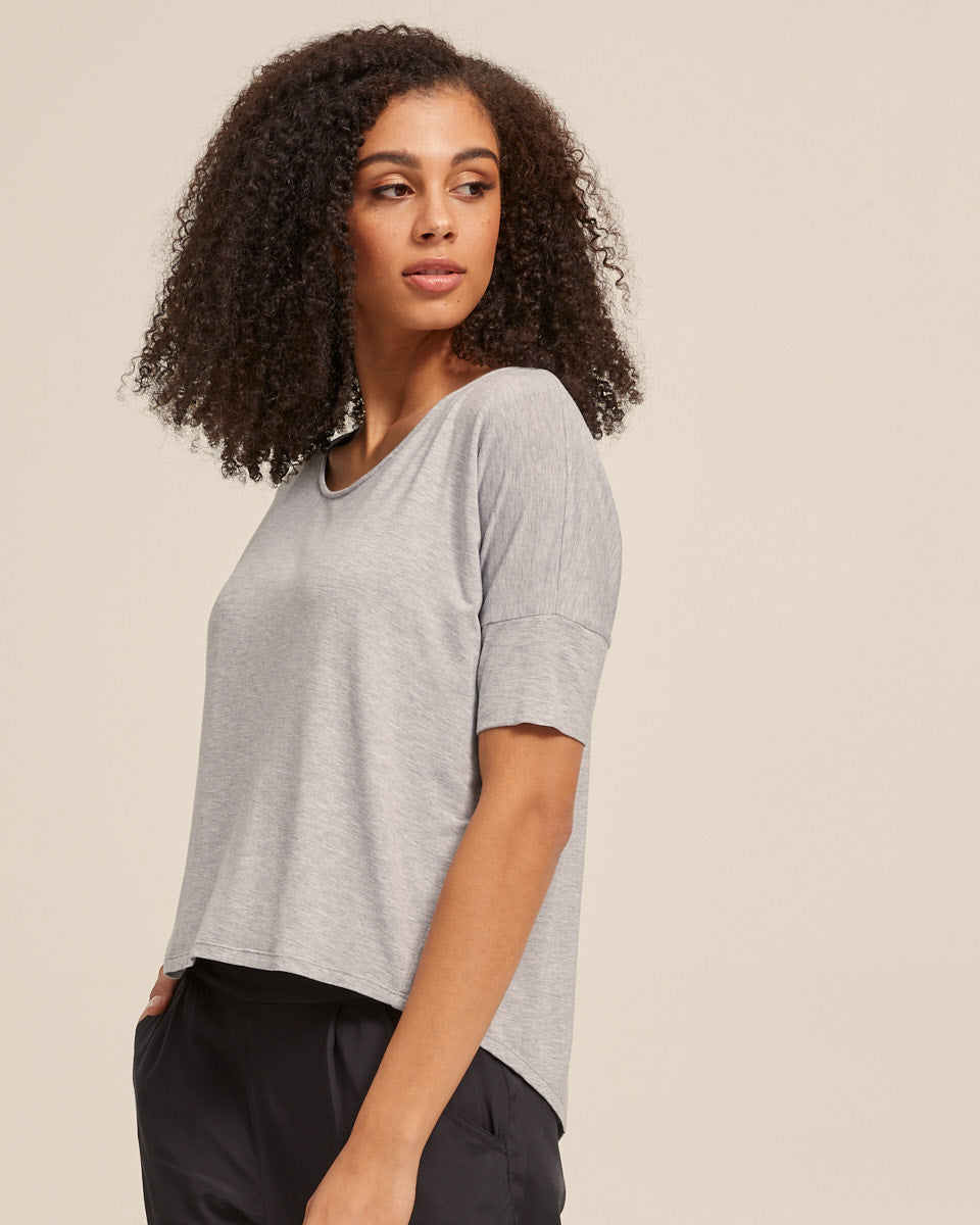 Bamboo Breastfeeding Boxy Tee - Grey Marle - Peachymama - 4