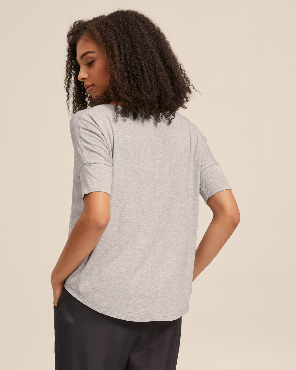 Bamboo Breastfeeding Boxy Tee - Grey Marle - Peachymama - 3