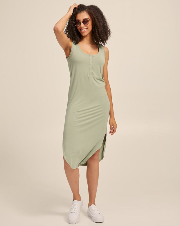 Breastfeeding Tank Dress - Khaki - Peachymama - 4