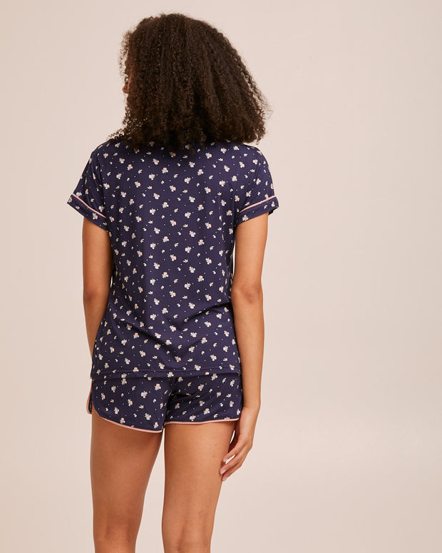 Short Sleeve Bamboo Button Nursing Pyjamas - Navy - Peachymama - 4