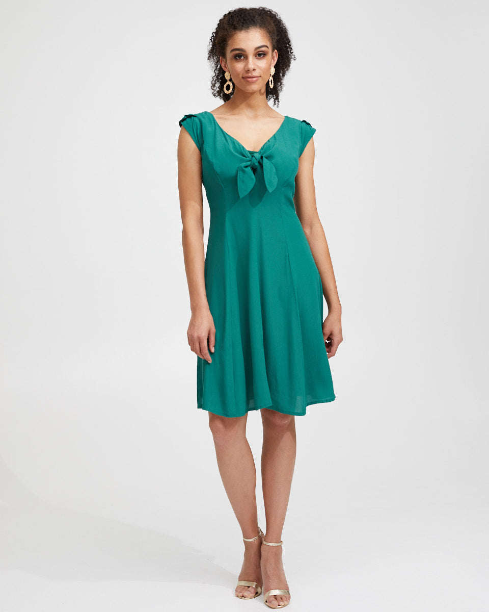 Tie Front Nursing Dress - Green - Peachymama - 1