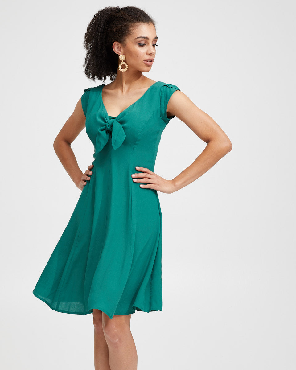 Tie Front Nursing Dress - Green - Peachymama - 6
