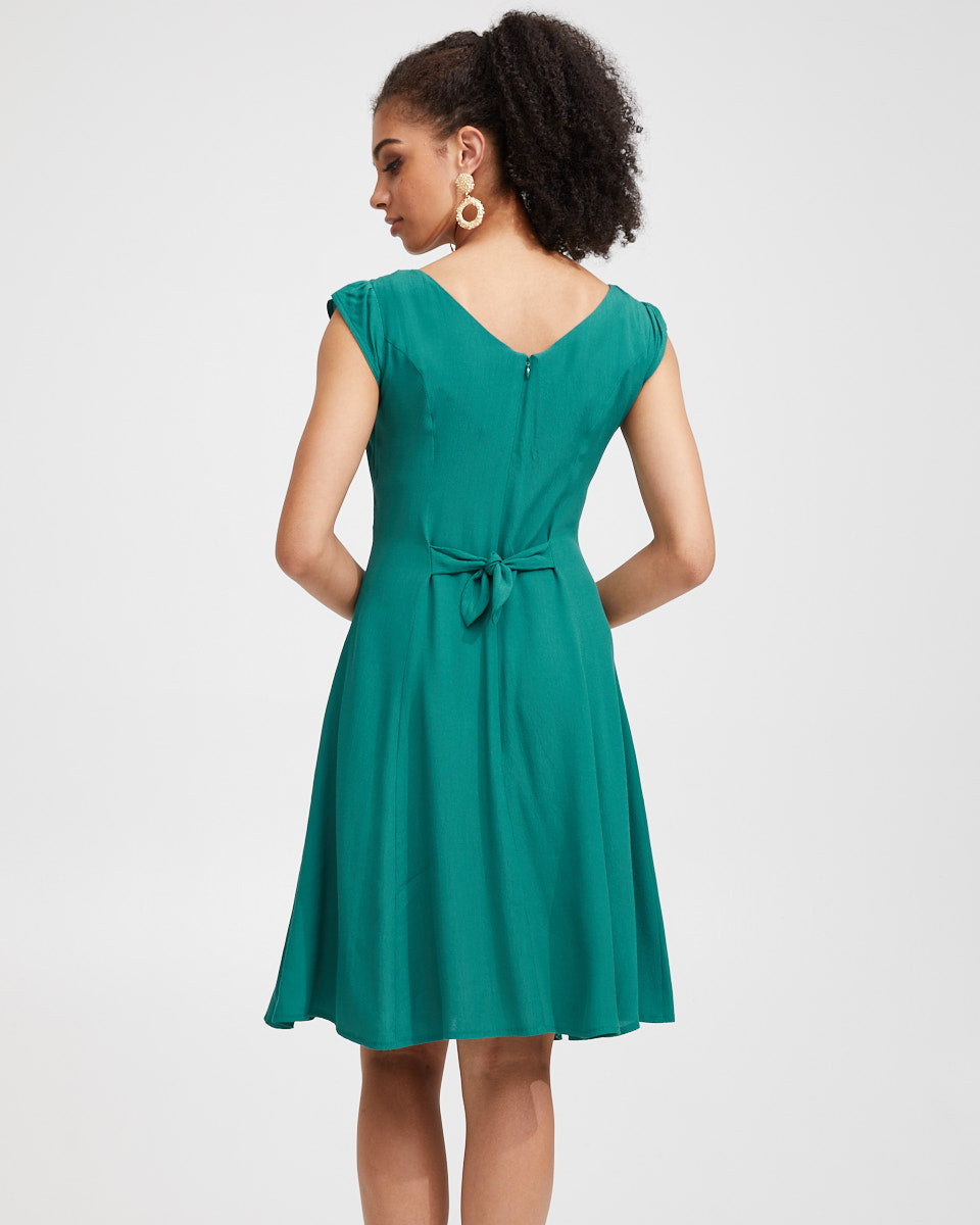 Tie Front Nursing Dress - Green - Peachymama - 3