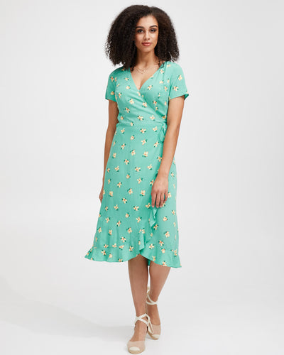 Ruffle Nursing Wrap Dress - Green Floral - Peachymama - 1