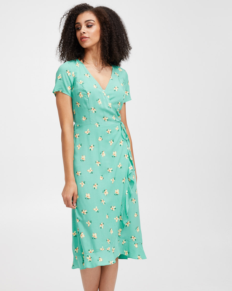 Ruffle Nursing Wrap Dress - Green Floral - Peachymama - 4