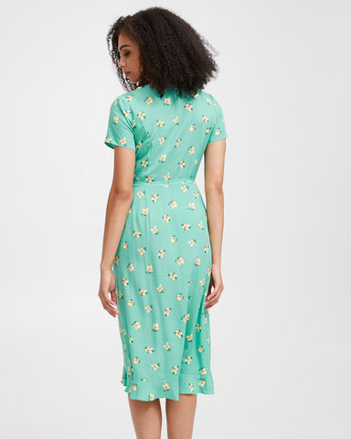 Ruffle Nursing Wrap Dress - Green Floral - Peachymama - 3