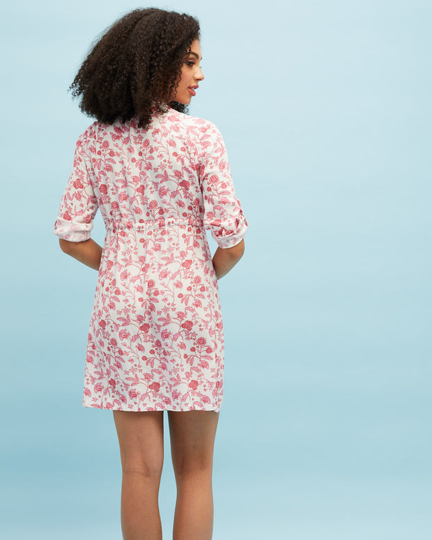 Breastfeeding Shirt Dress - Rose Print - Peachymama - 3