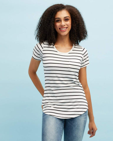 White & black stripe bamboo nursing tee by Peachymama 1