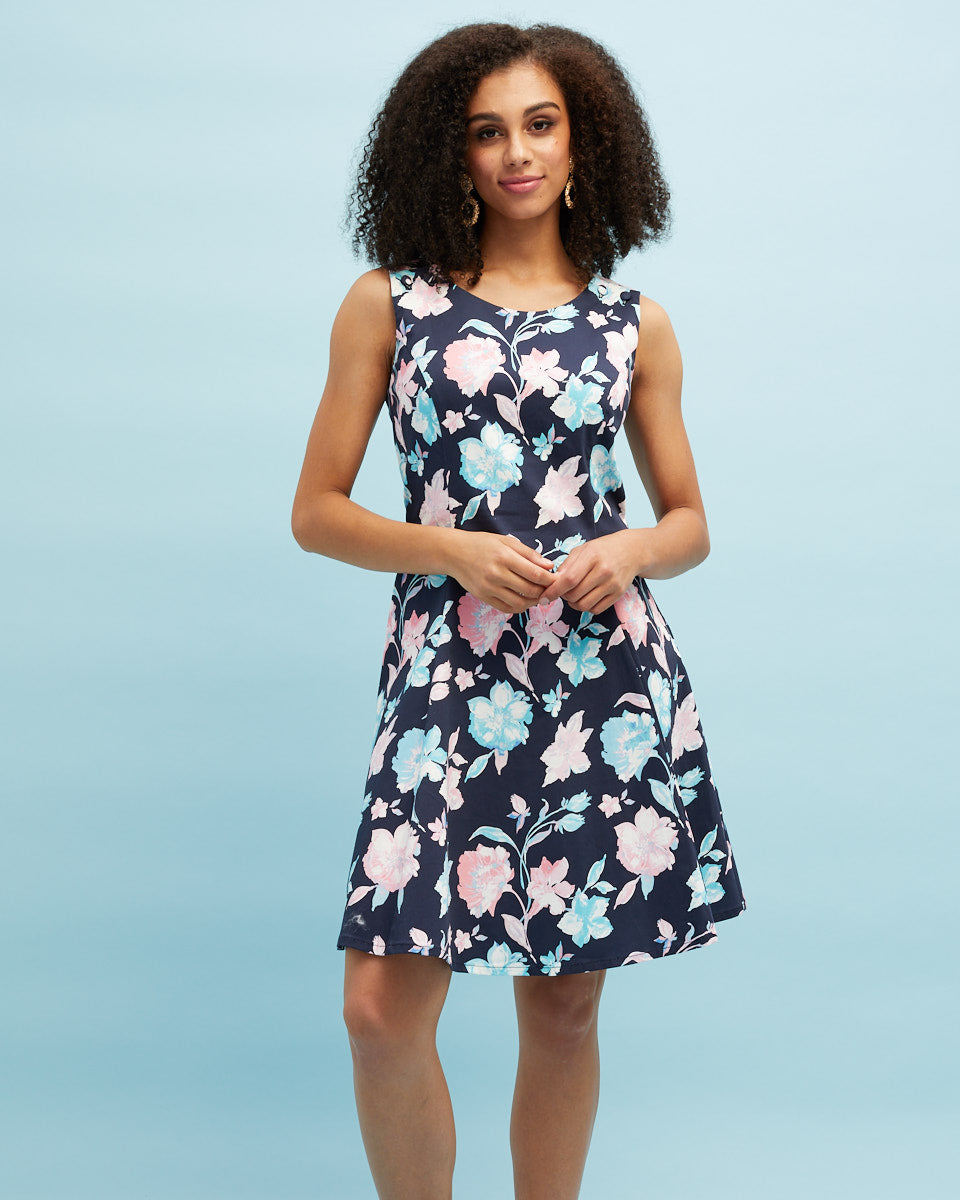 Pinafore Breastfeeding Dress - Navy Floral - Peachymama - 4