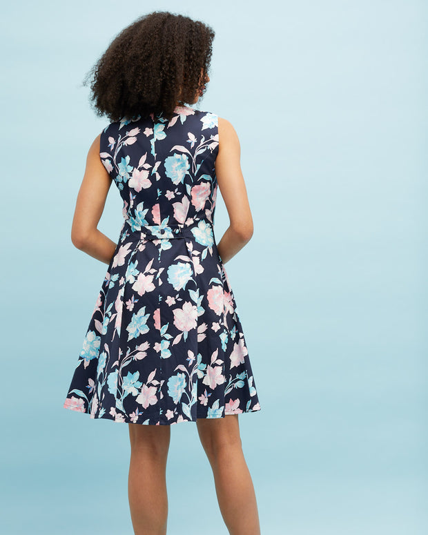 Pinafore Breastfeeding Dress - Navy Floral - Peachymama - 3