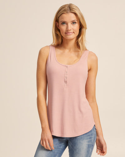 Ribbed Breastfeeding Tank - Dusty Pink - Peachymama - 1
