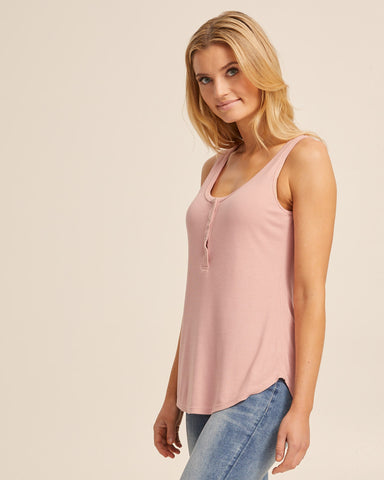 Ribbed Breastfeeding Tank - Dusty Pink - Peachymama - 4