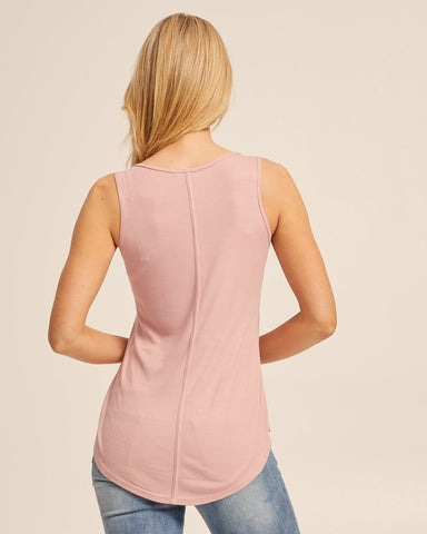 Ribbed Breastfeeding Tank - Dusty Pink - Peachymama - 3