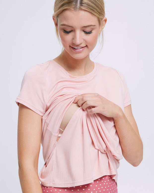 Active Twist Nursing Tee - Sand - Peachymama - 2