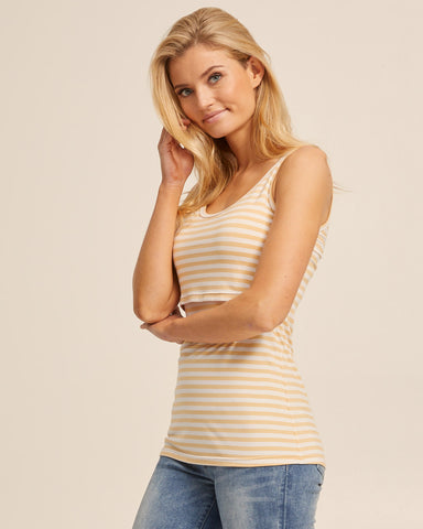 Bamboo Nursing Tank in Yellow Stripe - Peachymama - 5