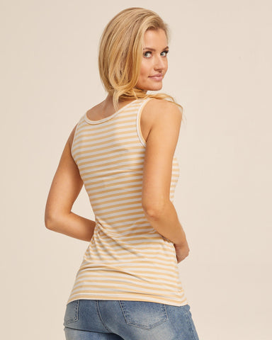 Bamboo Nursing Tank in Yellow Stripe - Peachymama - 4