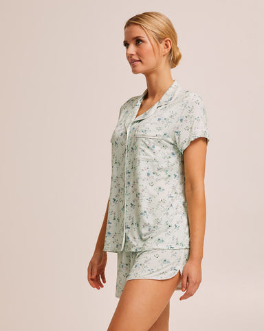 Short Sleeve Bamboo Button Nursing Pyjama - Sage Floral - Peachymama - 5