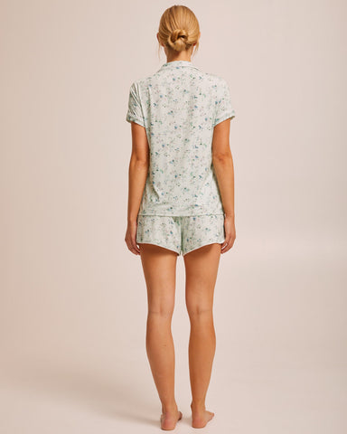Short Sleeve Bamboo Button Nursing Pyjama - Sage Floral - Peachymama - 4