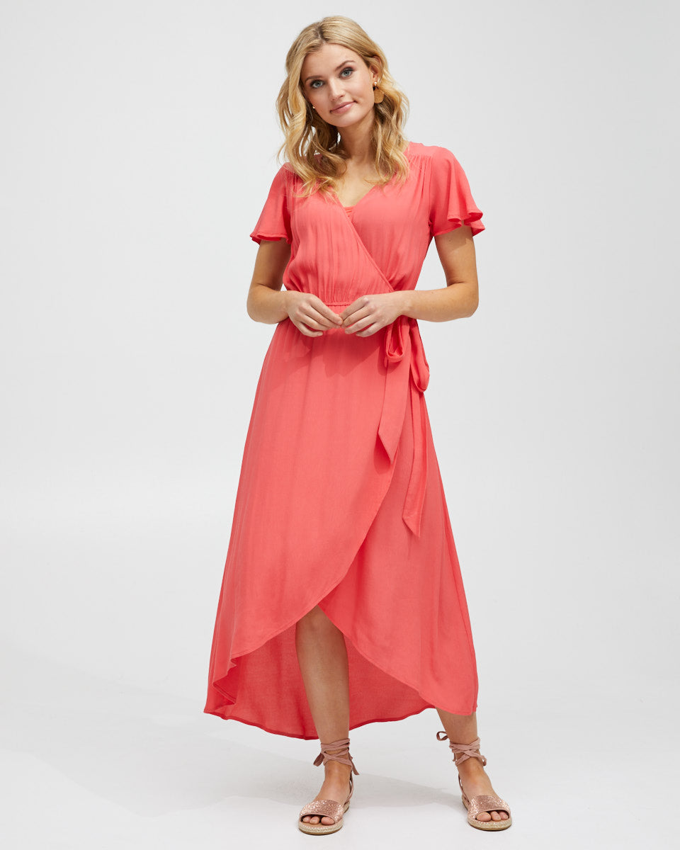 Wrap Nursing Dress - Red - Peachymama - 1