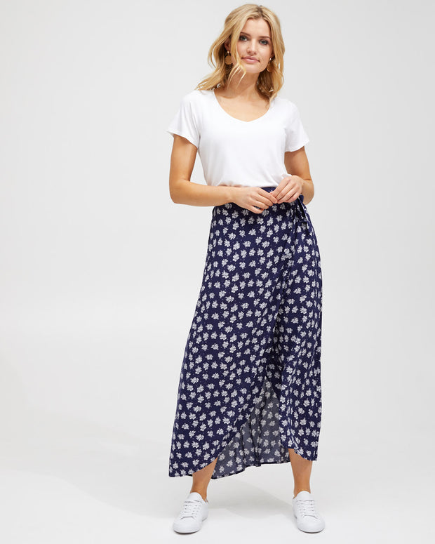 Wrap Skirt - Navy Floral - Peachymama - 1