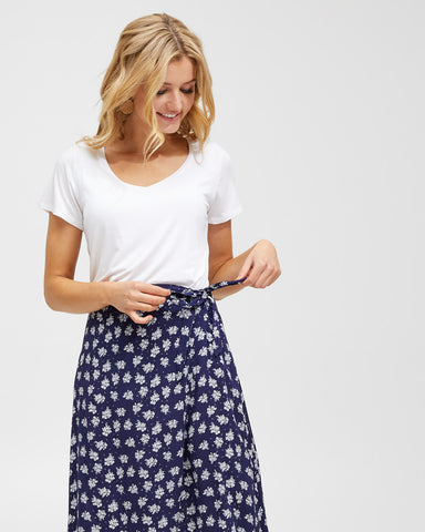 Wrap Skirt - Navy Floral - Peachymama - 3
