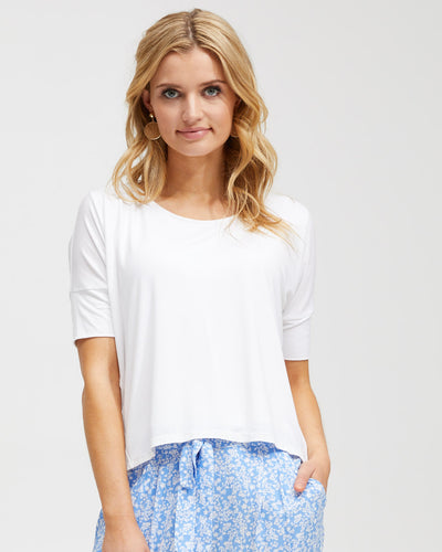 Bamboo Breastfeeding Boxy Tee - White - Peachymama - 1