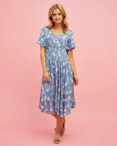 Midi Nursing Dress - Blue Floral - Peachymama - 1