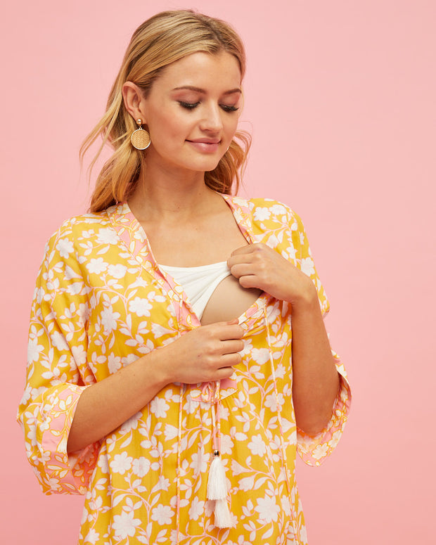 Tunic Nursing Dress - Golden Yellow - Peachymama - 2