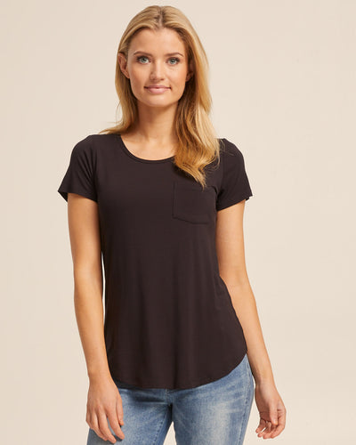 Black bamboo nursing tee by Peachymama America 1