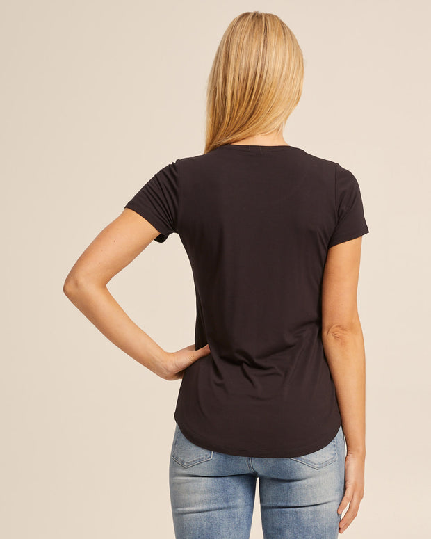 Black bamboo nursing tee by Peachymama America 3