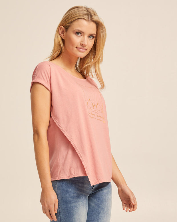 Asymmetric Breastfeeding Tee - Pink Sand