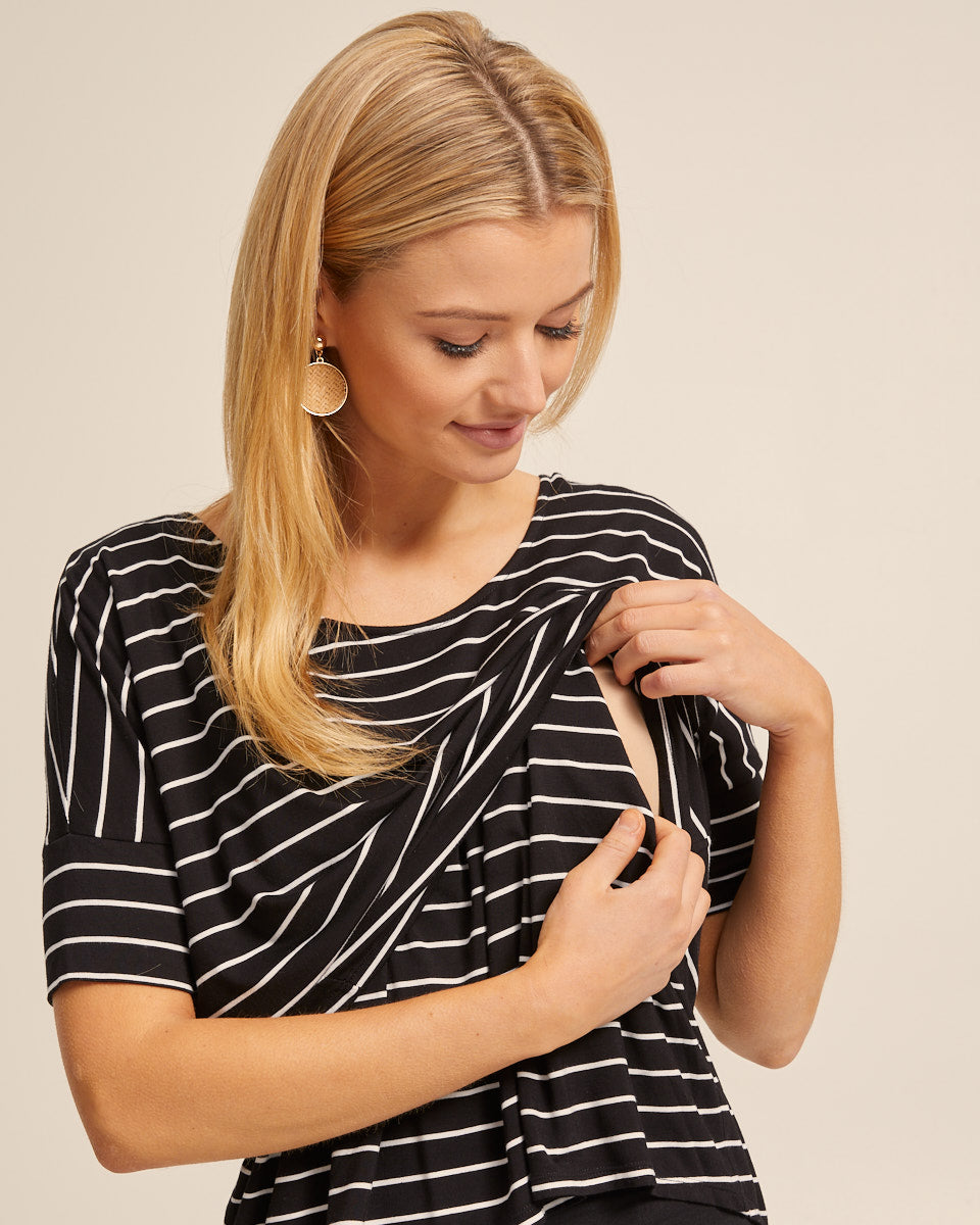 Bamboo Breastfeeding Boxy Tee - Black Stripe - Peachymama - 2