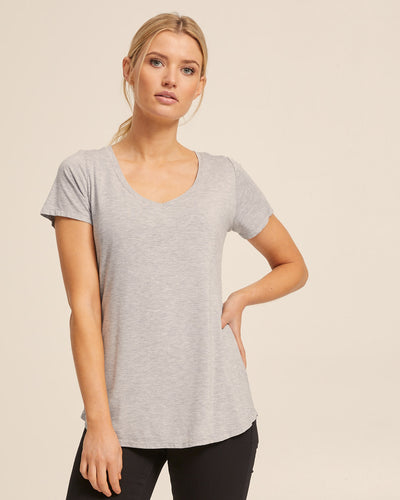 V Neck Bamboo Nursing Tee - Grey Marle - Peachymama - 1