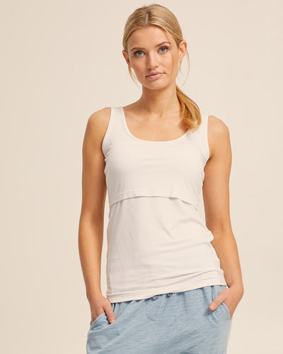 Cool White Bamboo Nursing Tank