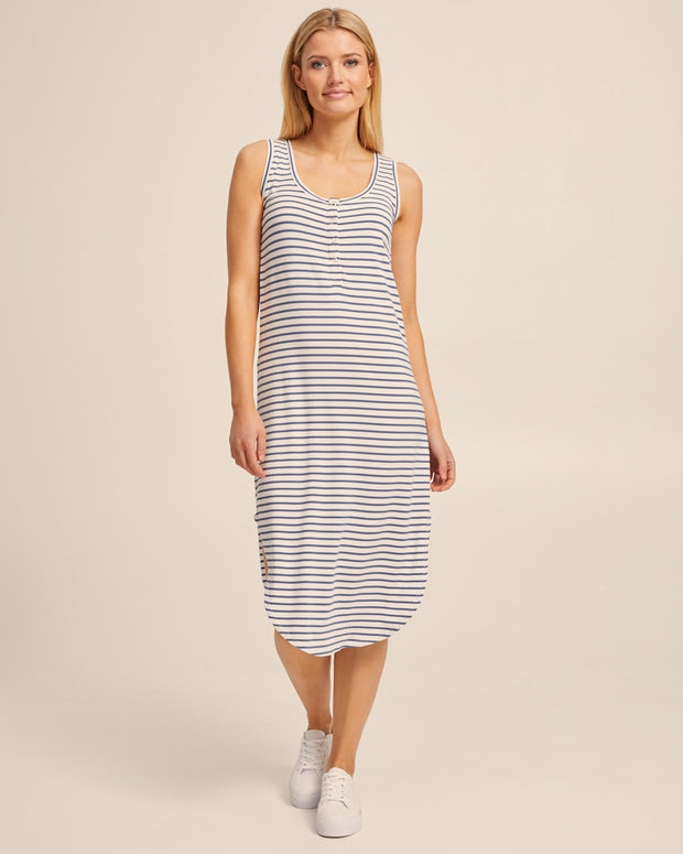 Breastfeeding Tank Dress - Teal Stripe - Peachymama - 1