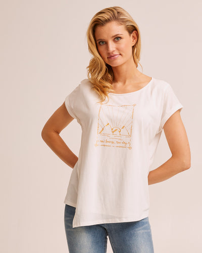 Asymmetric Breastfeeding Tee - White