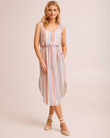 Woman wearing a beach stripe Peachymama nursing dress
