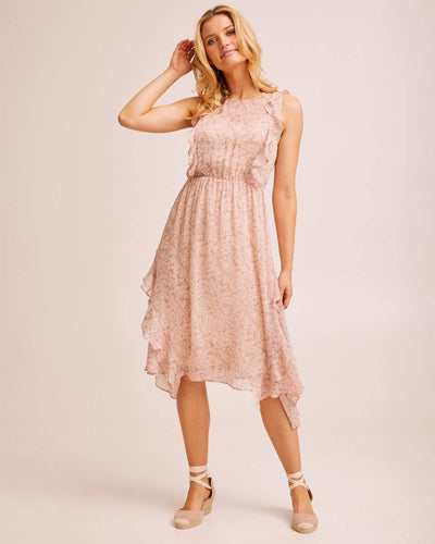Sheer Ruffle Nursing Dress - Blush Floral by Peachymama USA 1