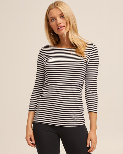 French Stripe Bamboo Nursing Top