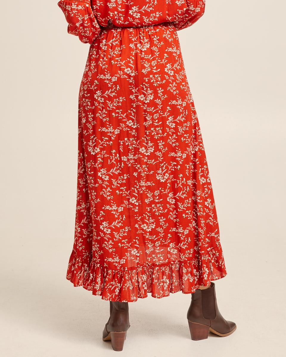 Ruffle Maxi Skirt - Rust Red