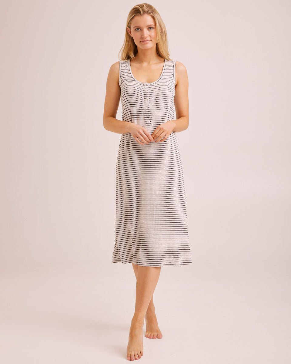 Bamboo Midi Nursing Nightie - Black/Oatmeal Stripe