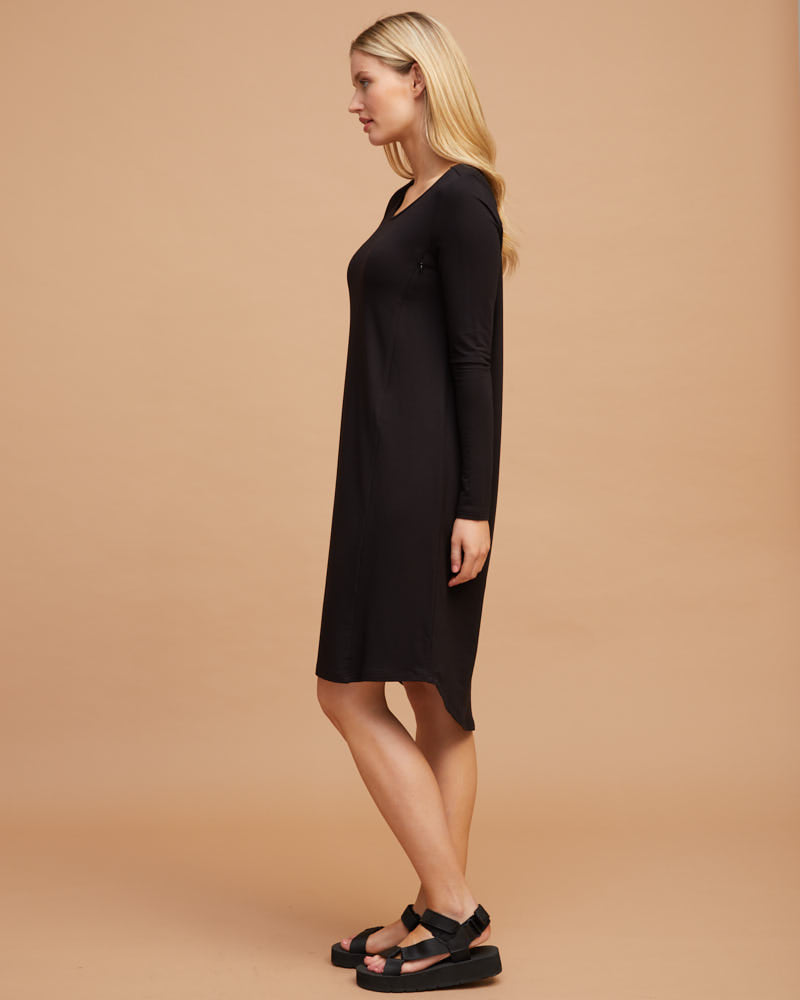Bamboo Nursing T-Shirt Dress - Black