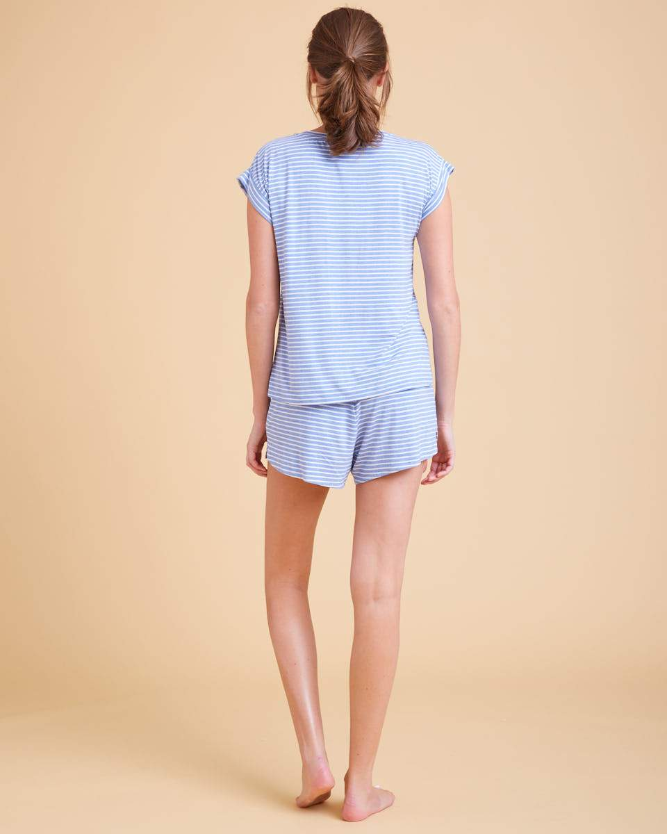 Stripe Nursing Pajamas - Real Teal Stripe