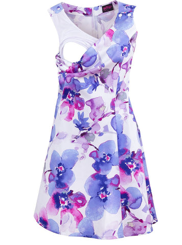 Purple Orchid Pinafore nursing dress - Opening