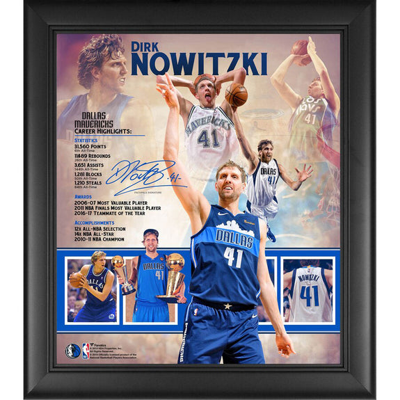 "Dirk Nowitzki <br>Collage ""Retirement"" <br>Dallas Mavericks <br>38 x 42 cm"