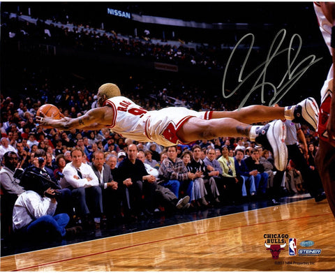 "Dennis Rodman <br>Chicago Bulls <br>Original signiertes Foto <br>""Dive For Loose Ball Horizontal"" <br>50 x 40 cm"
