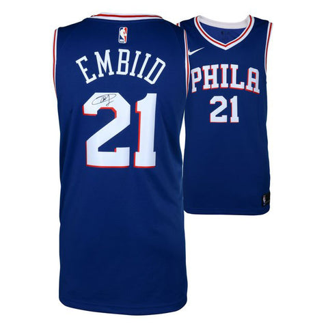 Joel Embiid <br>Boston Celtics <br>Original signiertes Blue Nike Swingman Jersey
