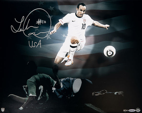 "Landon Donovan<br>Team USA ""Stars and Stripes""<br>Original signiertes Poster<br>50 x 40 cm"